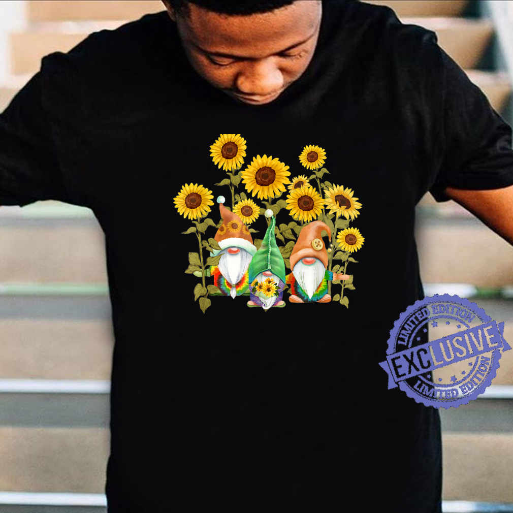 Floral T-Shirt Unique Sunflower Gnome For Hippies And Spring Time