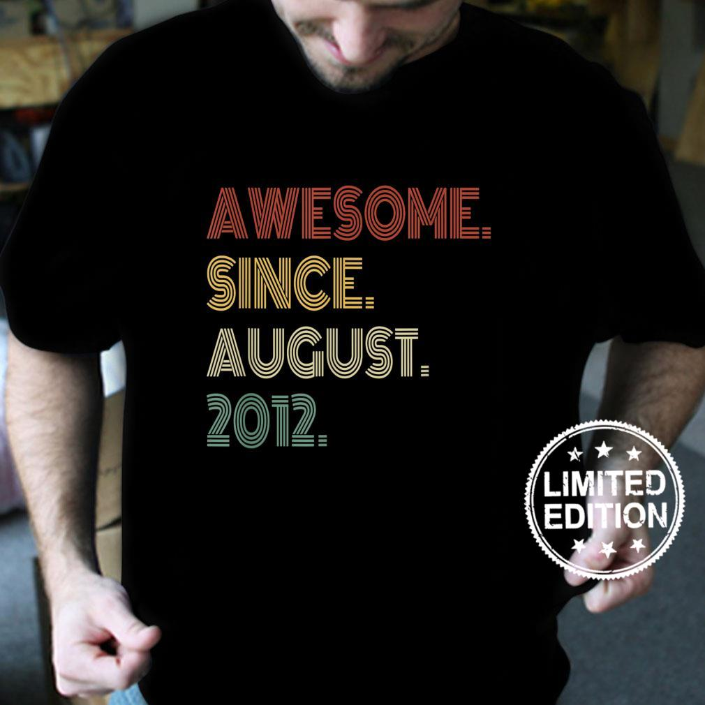 Vintage 9th Birthday Retro Awesome Since August 2012 Shirt